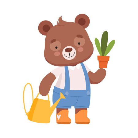 Smiling Bear Character Carrying Flower Pot and Watering Pot Vector Illustration. Forest Mammal Having Fun Concept For Kids Illustrated Book