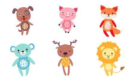 Cute Toy Animals Collection, Dog, Pig, Fox, Bear, Deer, Lion Vector Illustration