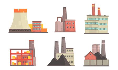Power Plants Collection, Industrial Manufactory Factory Buildings Vector Illustration on White Background.