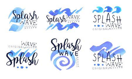 Splash Wave Labels Collection, Blue Badges with Water Splashes Vector Illustration