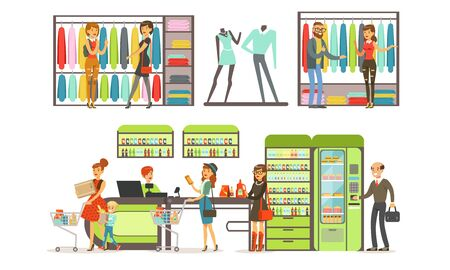 People Shopping in a Mall Collection, Male and Female Customers Buying Clothes and Groceries in Store Vector Illustration on White Background.