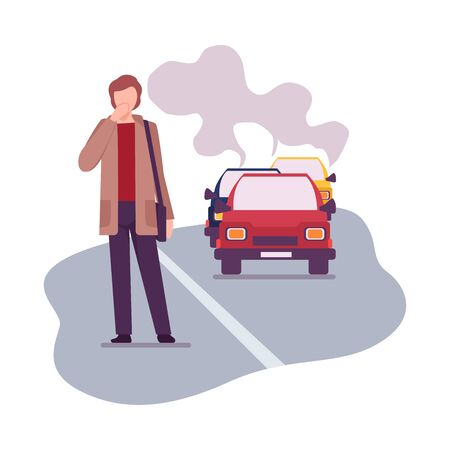 Environmental Pollution and Its Sources Vector Illustration. Urban Pollution Because of Traffic Smoke. Man Crossing the Road Breathing Smoke