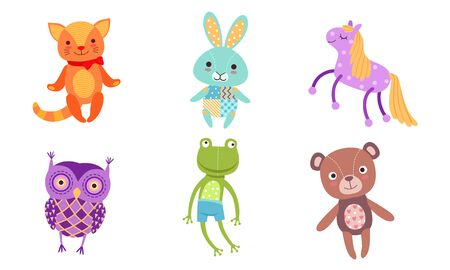 Cute Toy Animals Collection, Owl, Frog, Bear, Cat, Bunny, Horse Vector Illustration on White Background. Illustration
