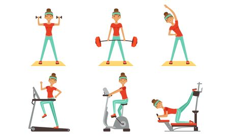 Young Woman Doing Different Sport Exercises Collection, Sportive Girl Character Working Out in Ftness Club or Gym Vector Illustration on White Background.
