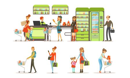 People Shopping in a Mall Collection, Customers Buying Groceries in Store Vector Illustration on White Background.