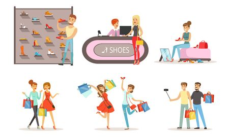 People Shopping in a Mall Collection, Male and Female Customers Buying Clothes and Shoes in Store Vector Illustration on White Background.