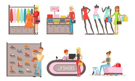People Shopping in a Mall Collection, Men and Women Buying Clothes and Shoes Vector Illustration on White Background.