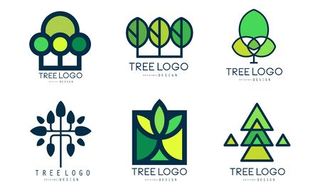 Tree  Templates Collection, Green Lined Badges Vector Illustration
