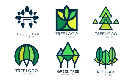 Tree  Templates Collection, Green Lined Badges, Abstract Organic Design Element Vector Illustration