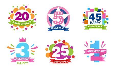 Kolekcja kolorowych etykiet rocznicowych, 20, 5, 45, 3, 25, 1 lat odznaki celebracja ilustracji wektorowych Ilustracje wektorowe