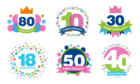 Colorful Anniversary Labels Collection, 80, 10, 30, 18, 50, 40 Years Celebration Badges Vector Illustration Ilustracja