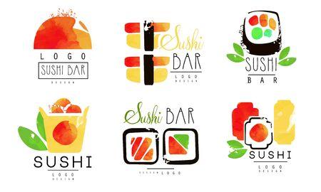 Sushi Bar  Original Design Collection, Oriental Japanese Food Badges Watercolor Vector Illustration Stock fotó - 138474994