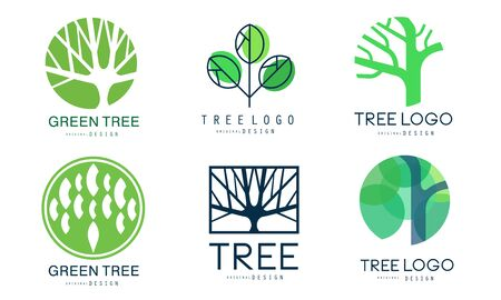 Green Tree   Templates Collection, Abstract Organic Badges Vector Illustration Illustration