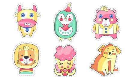 Lovely Different Animals Collection, Cute Colorful Cloth Patches, Applique for Kids Clothing Decoration Vector Illustration Illustration