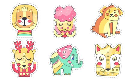 Lovely Different Animals Collection, Cute Colorful Cloth Patches, Embroidery or Applique for Kids Clothing Decoration Vector Illustration