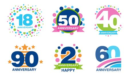 Colorful Anniversary Labels Collection, 18, 50, 40, 90, 2, 60 Years Celebration Badges Vector Illustration Ilustracja