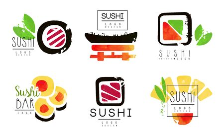 Sushi Bar   Original Design Collection, Oriental Japanese Seafood Badges Watercolor Vector Illustration Stock fotó - 138475000