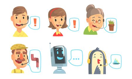 Funny Customers Support Phone Operators Set, Call Center Cartoon Characters with Headset Vector Illustration