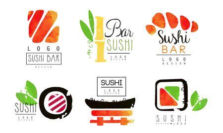 Sushi Bar   Design Collection, Oriental Japanese Food Badges Watercolor Vector Illustration Illusztráció