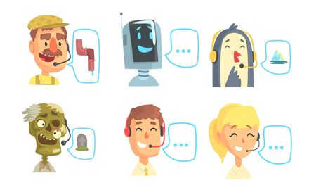 Funny Customers Support Phone Operators Set, Call Center Cartoon Characters with Headset Consulting People by Phone Vector Illustration