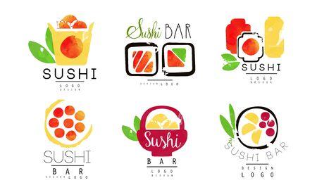 Sushi Bar   Original Design Collection, Japanese Seafood Badges Watercolor Vector Illustration Illusztráció