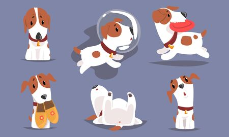 Cute Funny Beagle Dog Collection, Adorable Pet Animal Character in Different Situations Vector Illustration Illustration