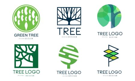 Tree   Templates Collection, Abstract Organic Green Badges Vector Illustration