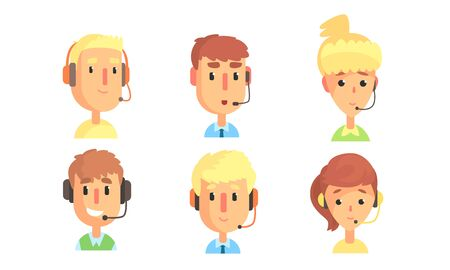 Cheerful Male and Female Customers Support Phone Operators Set, Call Center Employee Character with Headset Vector Illustration