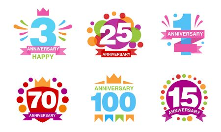 Colorful Anniversary Labels Collection, 3, 25, 1, 70, 100, 15 Years Celebration Badges Vector Illustration