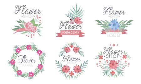 Flower Shop Templates Set, Florist Boutique Badges Vector Illustration on White Background.