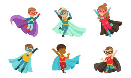 Adorable Kid Superheroes Collection, Cute Little Boys and Girls Wearing Colorful Comics Costumes and Masks, Birthday Party, Festival Design Element Vector Illustration
