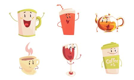 Funny Drinks Cartoon Characters Collection, Cola, Tea, Coffee Cup, Wine Glass Cute Beverages, Cafe, Restaurant Menu Design Element Vector Illustration