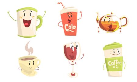 Funny Drinks Cartoon Characters Collection, Cola, Tea, Coffee, Wine Cute Beverages, Cafe, Restaurant Menu Design Element Vector Illustration Ilustracja
