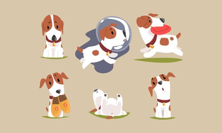 Cute Beagle Dog Cartoon Character Collection, Funny Purebred Pet Animal in Different Situations Vector Illustration