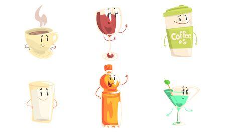 Funny Drinks Cartoon Characters Collection, Tea, Wine, Coffee, Milk, Martini, Juice Cute Beverages, Cafe, Restaurant Menu Design Element Vector Illustration