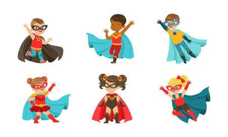 Adorable Kid Superheroes in Various Poses Collection, Cute Little Boys and Girls Wearing Colorful Comics Costumes and Masks, Birthday Party, Festival Design Element Vector Illustration
