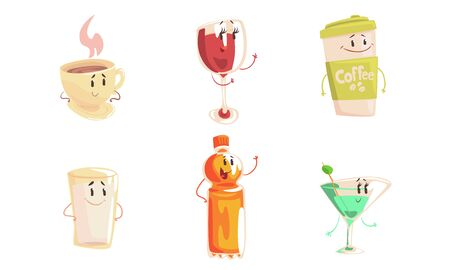 Funny Drinks Cartoon Characters Collection, Tea and Coffee Cup, Wine and Martini Glass, Milk, Juice Bottle Cute Beverages, Cafe, Restaurant Menu Design Element Vector Illustration Ilustracja