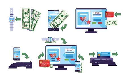 Online Payment Methods Collection, Financial Transactions via Electronic Gadgets, Money Transfer Technology Vector Illustration on White Background.