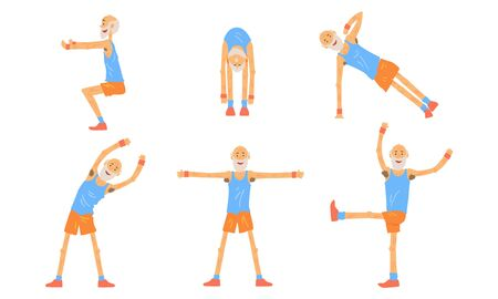 Senior Man Doing Morning Exercises Collection, Active Healthy Workout of Aged Person, People Engaged in Sports Vector Illustration on White Background.