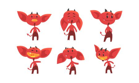Cute Red Devil with Various Emotions and Actions Collection, Funny Demon Cartoon Character Vector Illustration