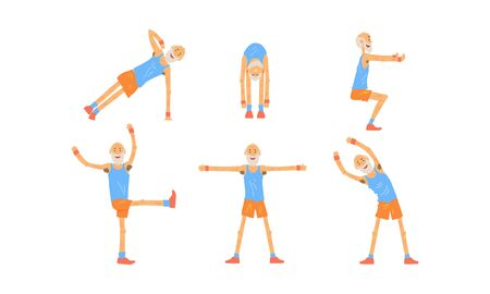 Senior Man Doing Morning Exercises Collection, Active Healthy Workout of Aged People Vector Illustration Vettoriali