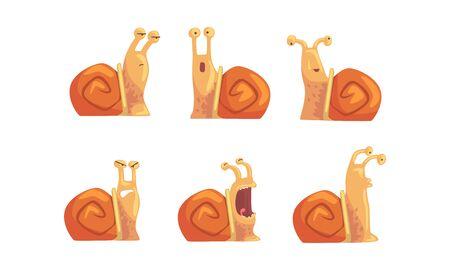 Ślimak z kolekcji różnych emocji, ładny ślimak mięczak kreskówka z śmieszną twarz ilustracji wektorowych Ilustracje wektorowe