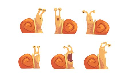 Snail with Different Emotions Collection, Cute Gastropod Mollusk Cartoon Character with Funny Face Vector Illustration Illustration