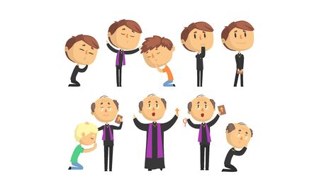 Man Priests Characters Collection, Catholic Preachers Blessing, Praying, Giving Speech Vector Illustration