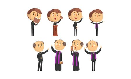 Man Priests Characters Collection, Young and Mature Catholic Preachers Blessing, Praying, Giving Speech Vector Illustration