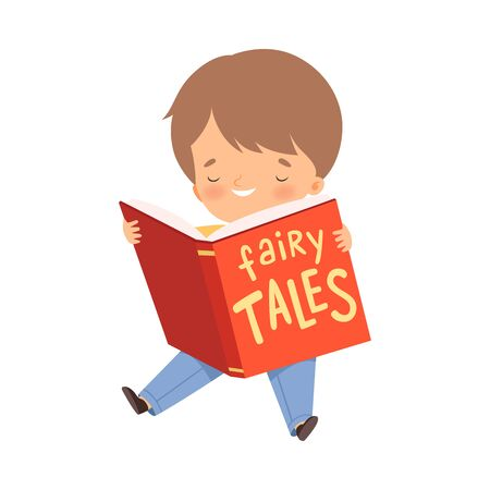 Little Boy Holding Opened Book Reading Fairy Tale Vector Illustration