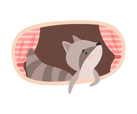 Funny Raccoon Peeped Out From Tree Hollow Vector Illustration Illusztráció