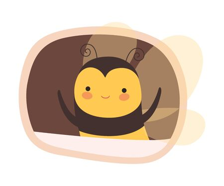 Funny Bee Peeped Out From Tree Hollow Vector Illustration. Adorable Cartoon Forest Creatures Enjoying Cozy Life in Their Homes Concept