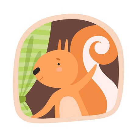 Funny Squirrel Peeped Out From Tree Hollow Vector Illustration
