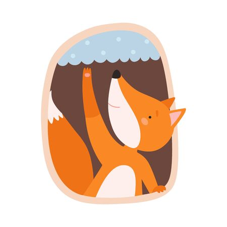 Funny Fox Peeped Out From Tree Hollow Vector Illustration